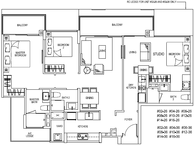 RiverIsles Floor Plans :: Type C7(DK) :: 3 Bedroom Dual Key :: 114 sq m :: 1227 sq ft