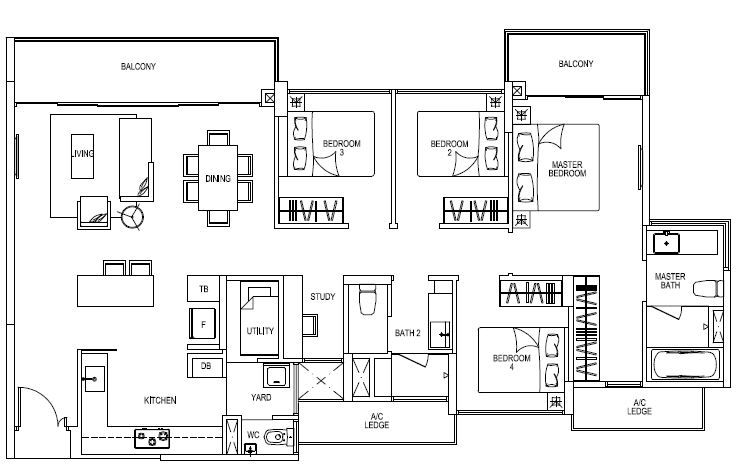 River Isle Floor Plans :: Type DS3 :: 4 Bedrooms